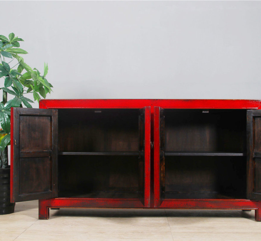 Chinese sideboard TV table chest of 4 doors red