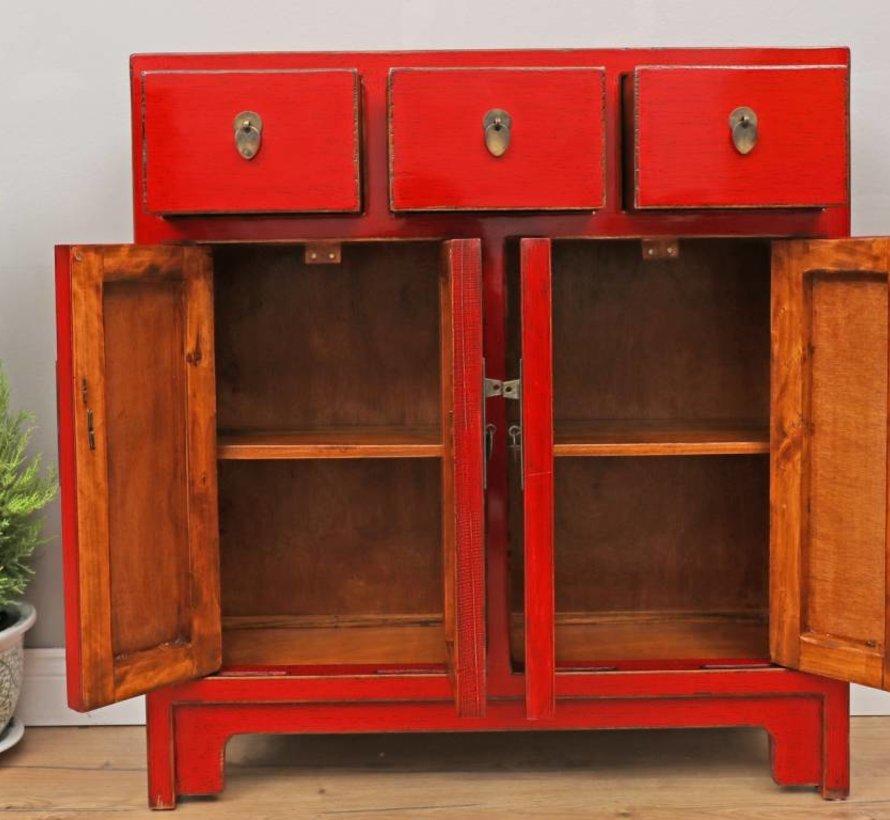 chinesische Kommode Sideboard 3 Schublade 4 Türen rot