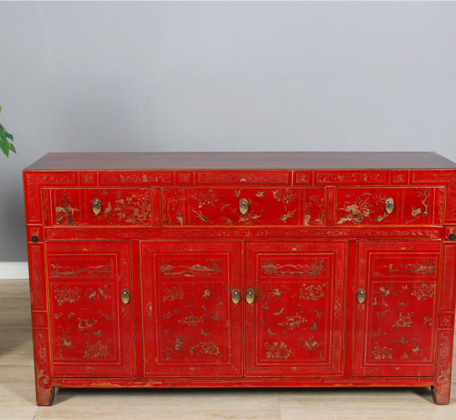 Antique hand-painted sideboard, red, with floral patterns