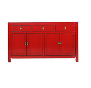 Yajutang Chinese sideboard 4 doors 3 drawers red
