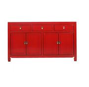 Yajutang chinesische Sideboard 4 Türen 3 Schubladen rot