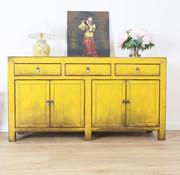 Yajutang chinesische Sideboard 4 Türen 3 Schubladen gelb
