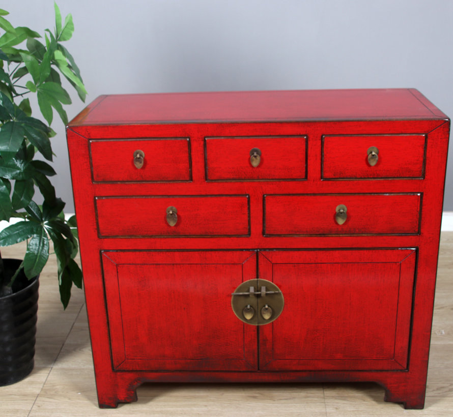 Chinese chest  sideboard 2 doors 2 drawers red