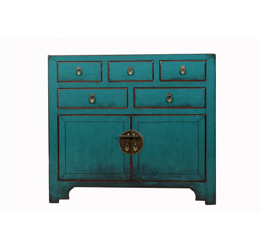 Chinese chest  sideboard 2 doors 2 drawers turquoise