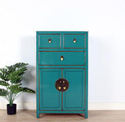 Yajutang Chinese dresser cupboard 3 doors turquoise