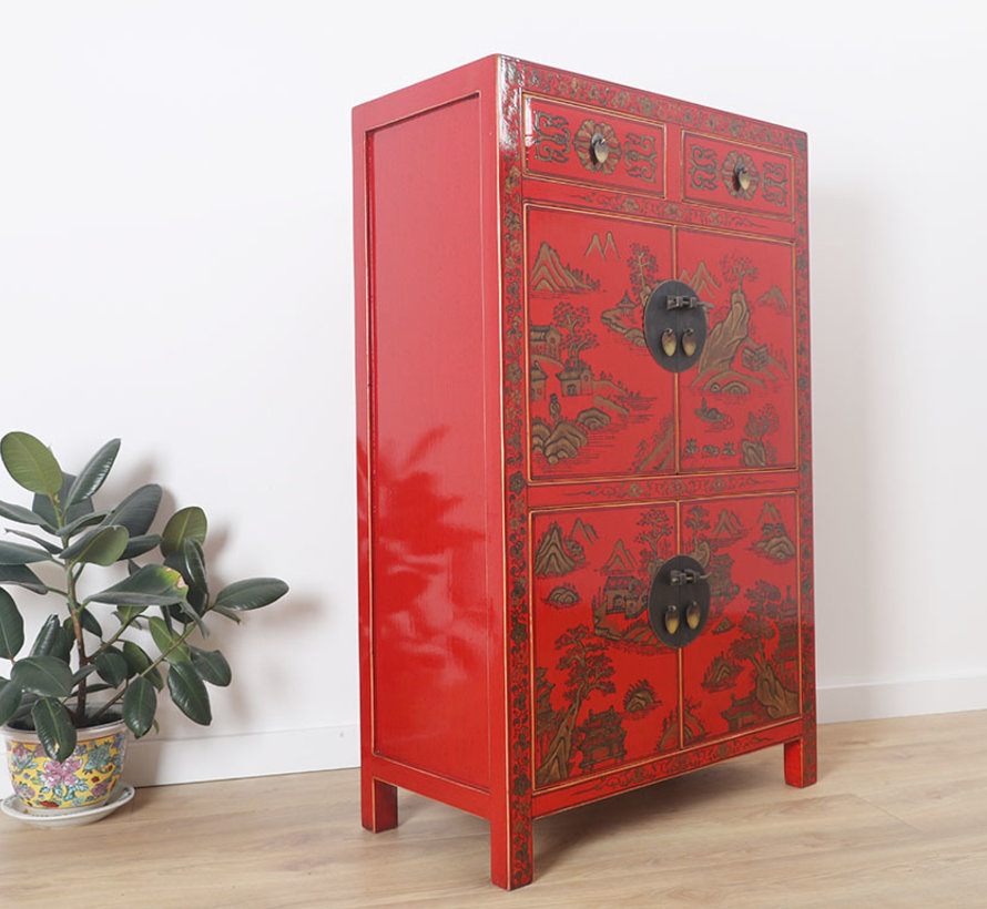 Chinesische Kommode handgemalte Landschaftsglückssymbole rot