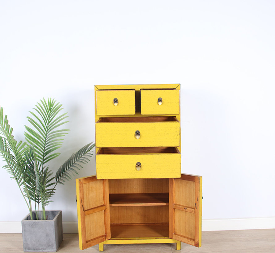 chinesische Kommode Sideboard 4 Schubladen 2 Türen gelb