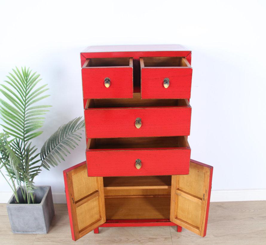 chinesische Kommode Sideboard 4 Schubladen 2 Türen rot