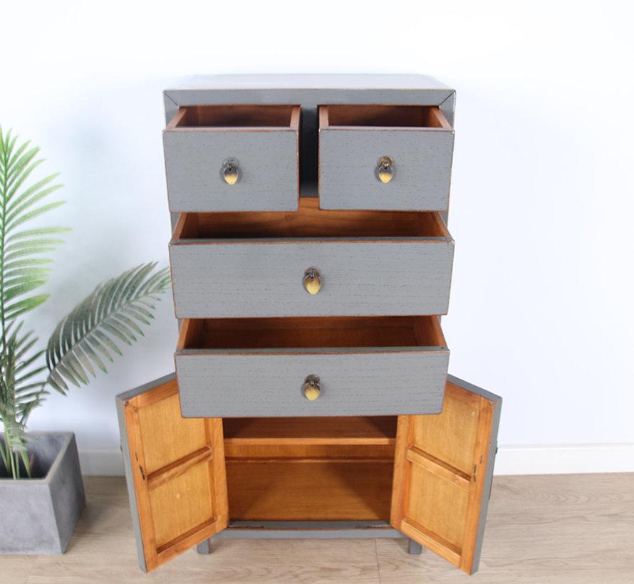 Chinese dresser sideboard 4 Schubladen 2 doors gray