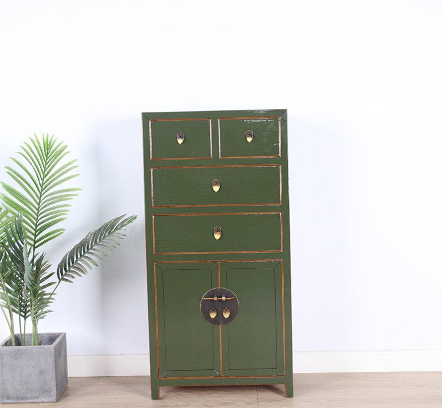 chinesische Kommode Sideboard 4 Schubladen 2 Türen olivgrün