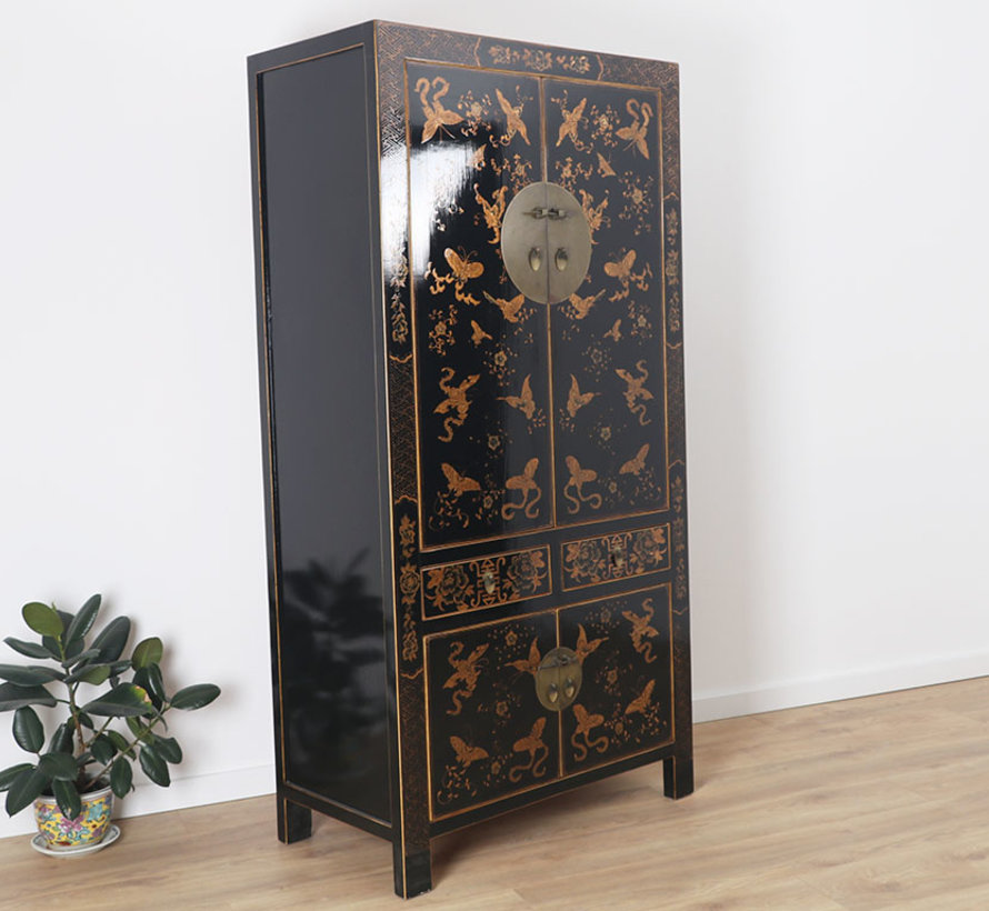 Wedding cabinet gilding painting black butterfly