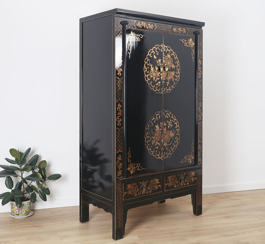 Wedding cabinet hand painted Yinyang lucky symbol black