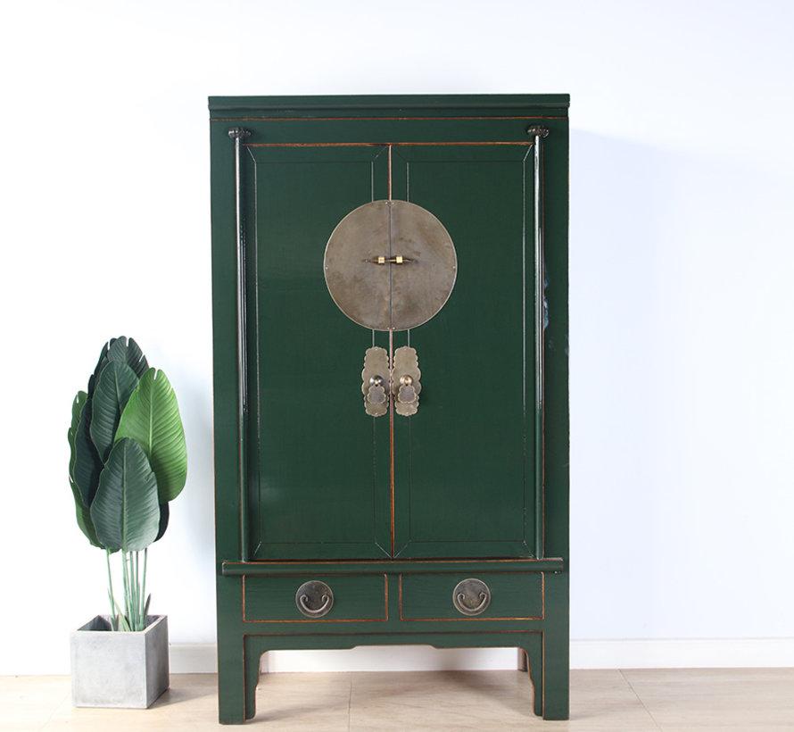 Chinesische Hochzeitschrank Massivholz 2 Türen Schrank tannengrün