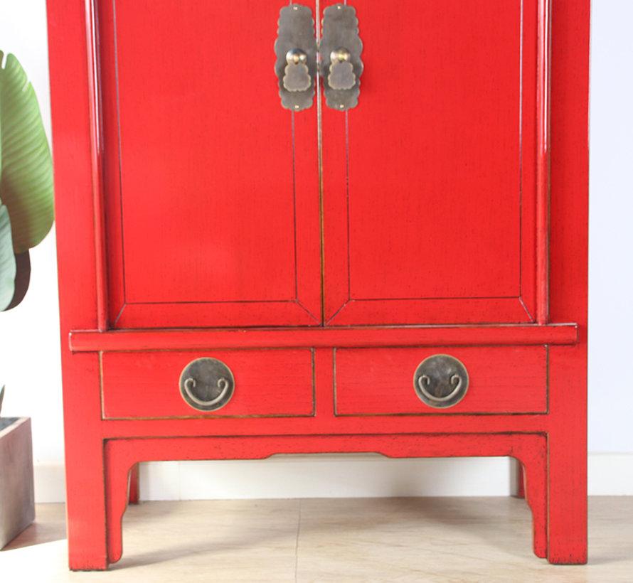 Chinesische Hochzeitschrank Massivholz 2 Türen Schrank rot