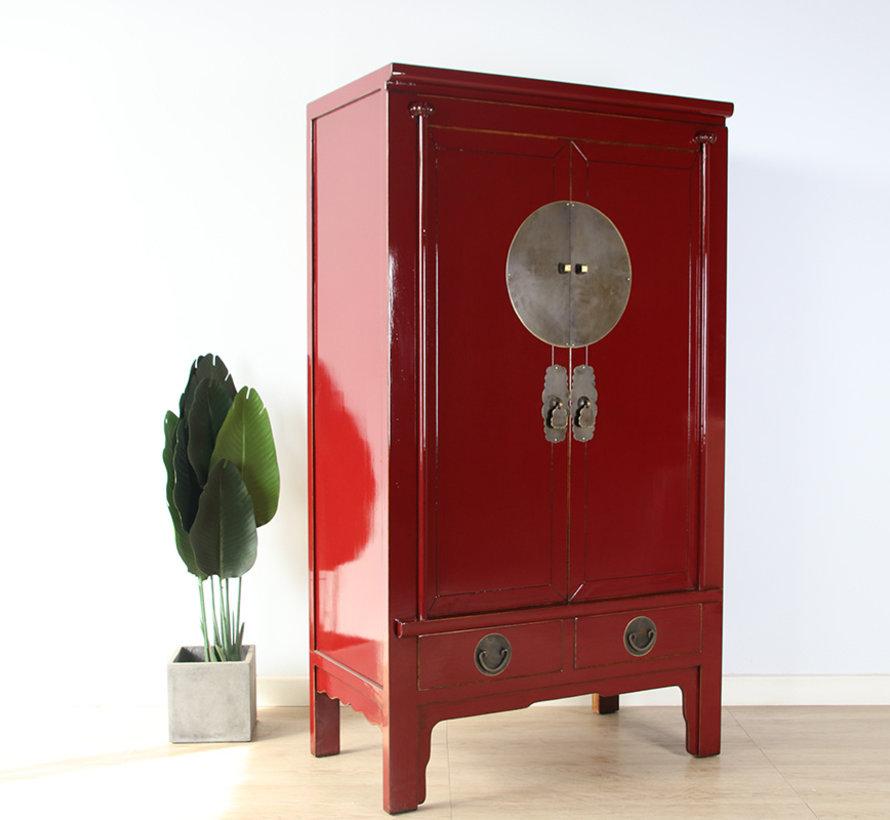 Chinesische Hochzeitschrank Massivholz 2 Türen Schrank purpurrot