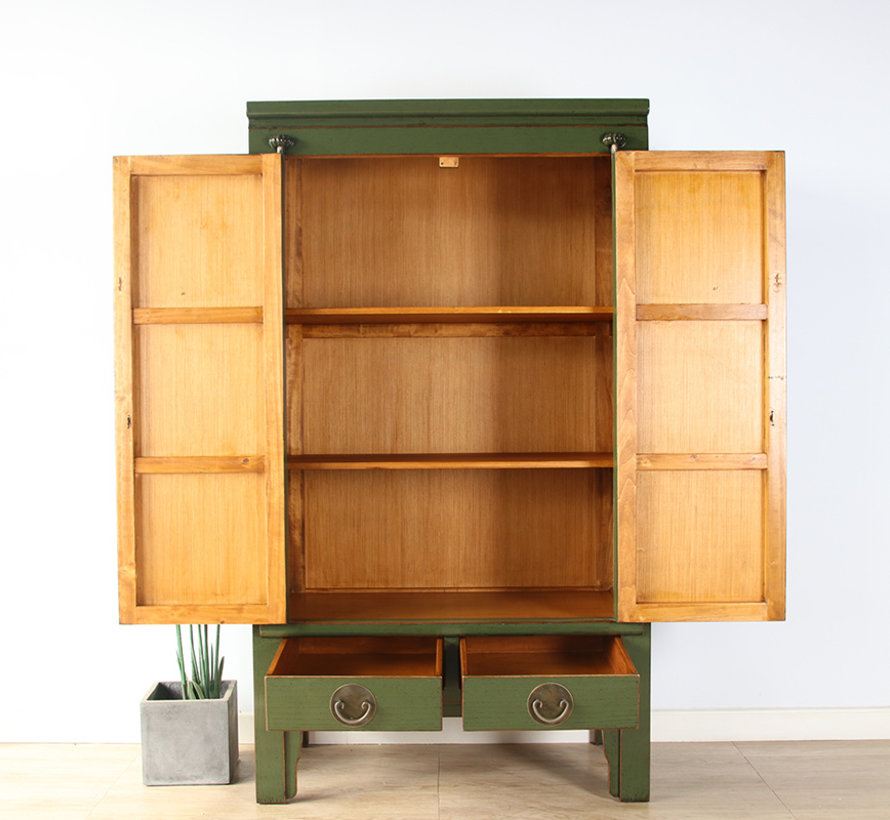 Chinese wedding cabinet solid wood 2 doors wardrobe olive-green