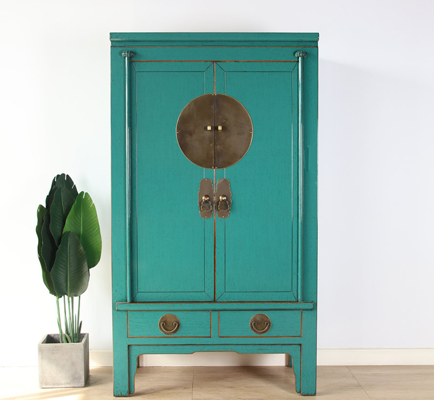 Chinese wedding cabinet solid wood 2 doors wardrobe tirquoise