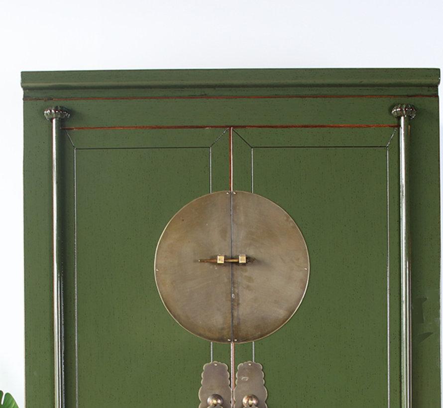 Chinesische Hochzeitschrank Massivholz 2 Türen Schrank olivgrün