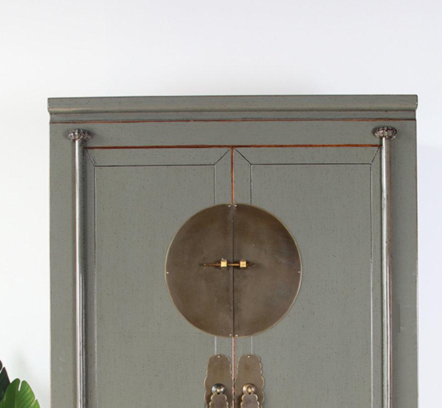 Chinesische Hochzeitschrank Massivholz 2 Türen Schrank grau