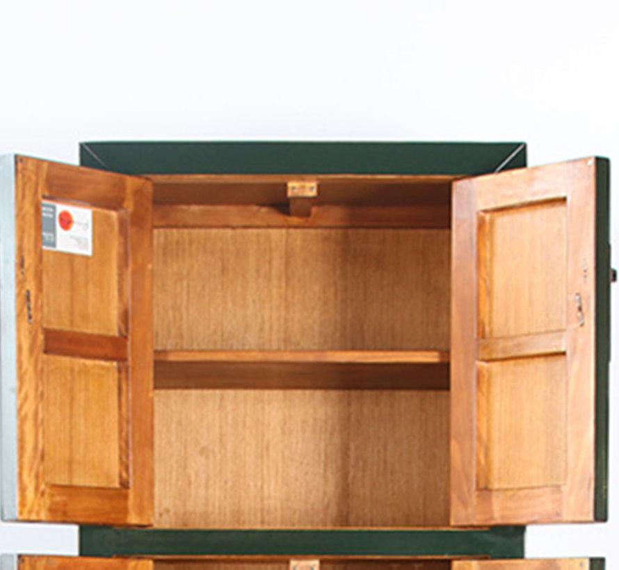 Chinesischer Hochzeitsschrank 6 Türen Massivholz tannengrün