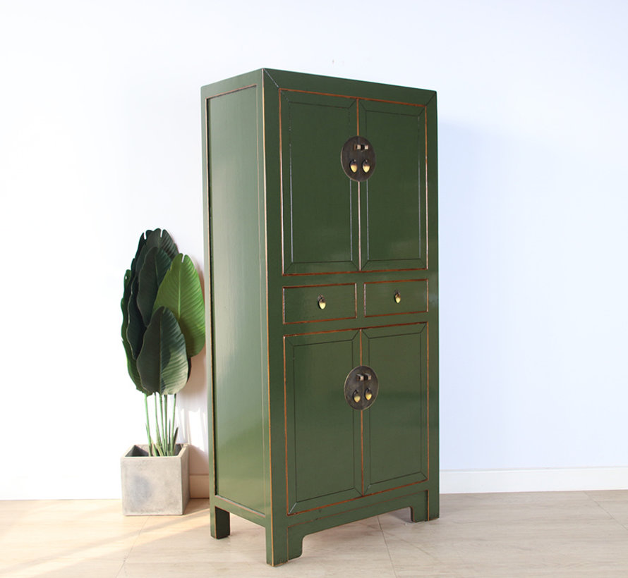 Chinesische Kommode Hochzeitschrank Mssivholz  olivgrün