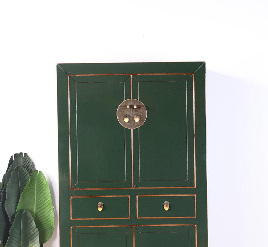 Chinesische Kommode Hochzeitschrank  Massivholz tannengrün