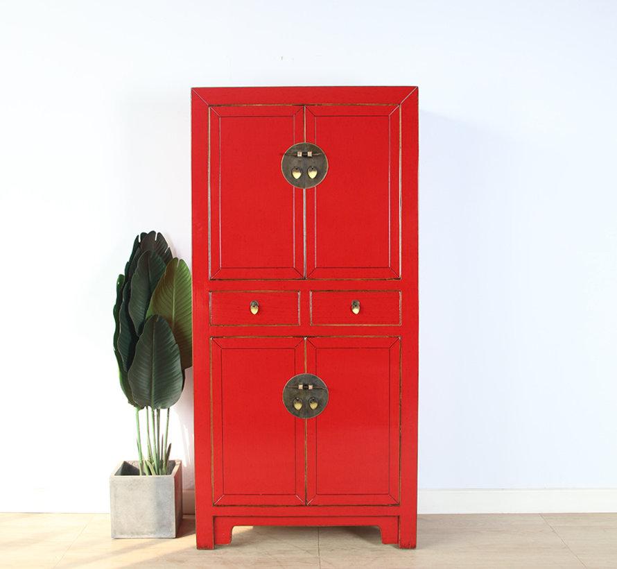 Chinesische Kommode Hochzeitschrank rot Massivholz