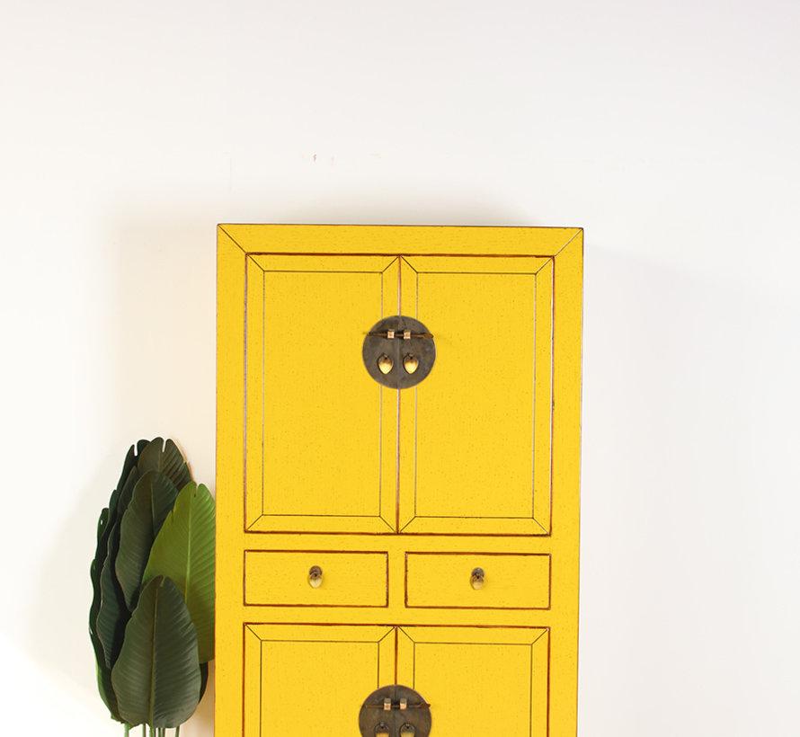 Chinesische Kommode Hochzeitschrank  Massivholz  gelb