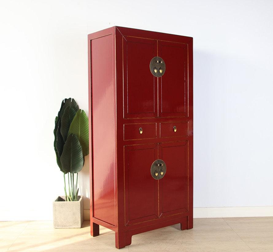 Chinesische Kommode Hochzeitschrank  Massivholz  purpurrot