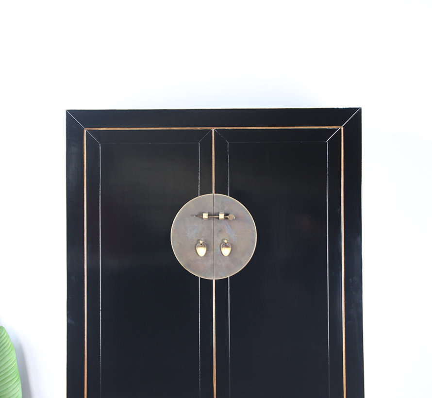 Chinesischer Hochzeitsschrank 2 Türen 4 Schubladen schwarz