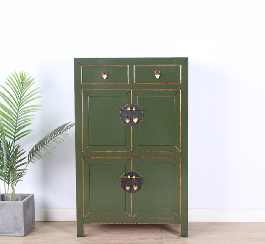 Chinesische Kommode Schuhschrank Schrank Massivholz olivgrün