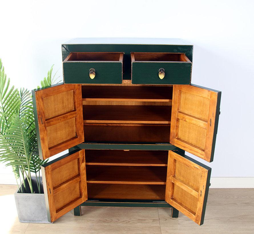 Chinese dresser shoe cabinet closet solid wood fir green