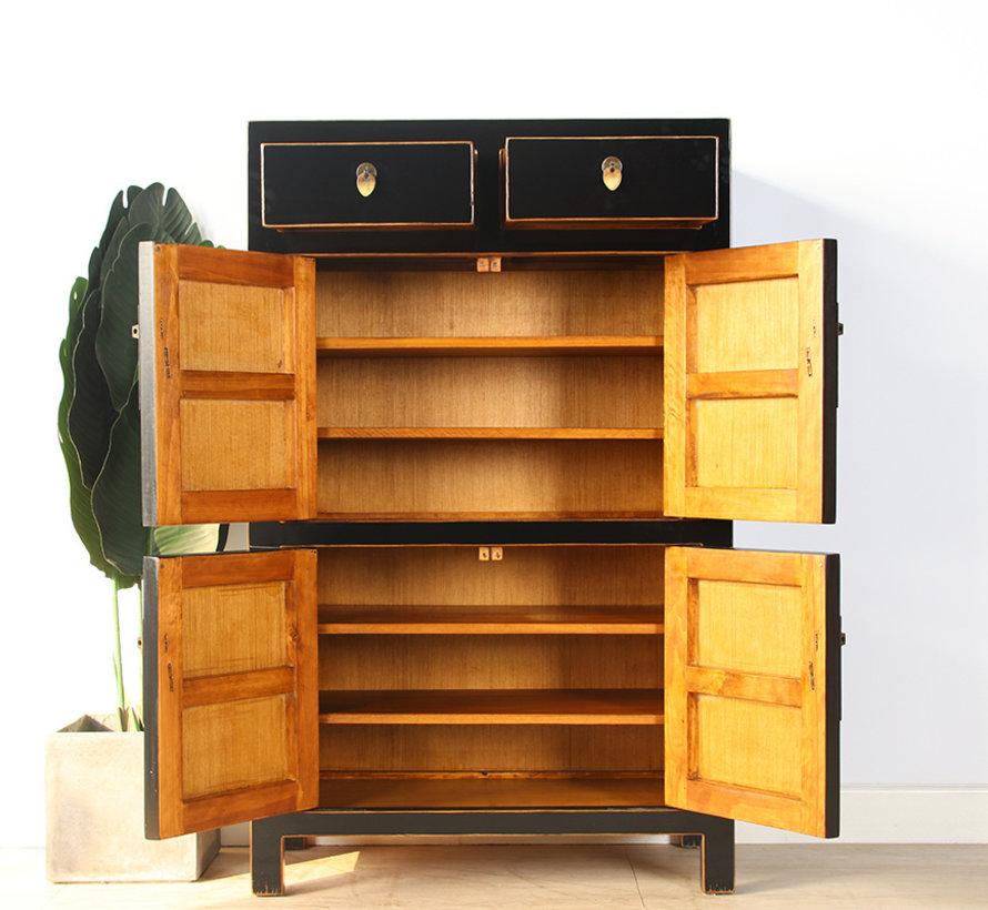 Chinese dresser shoe cabinet closet solid wood black
