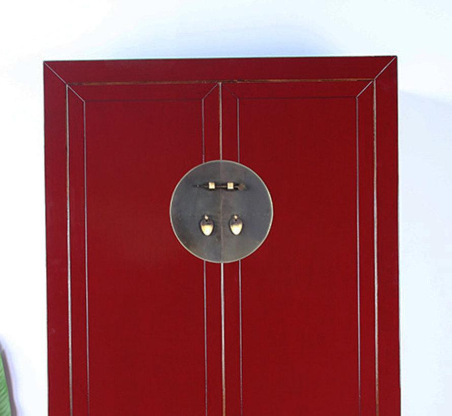 Chinesischer Hochzeitsschrank 2 Türen 4 Schubladen  purpurrot