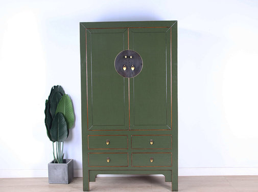 Yajutang Chinese wedding cabinet olive green