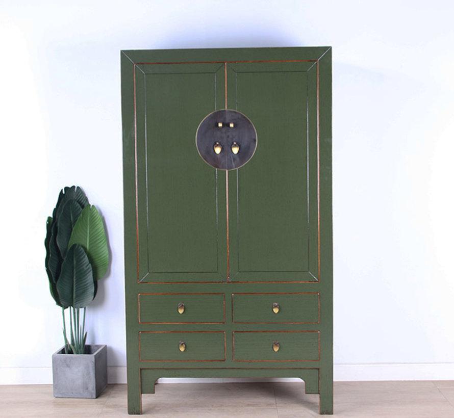 Chinesischer Hochzeitsschrank 2 Türen 4 Schubladen olivgrün