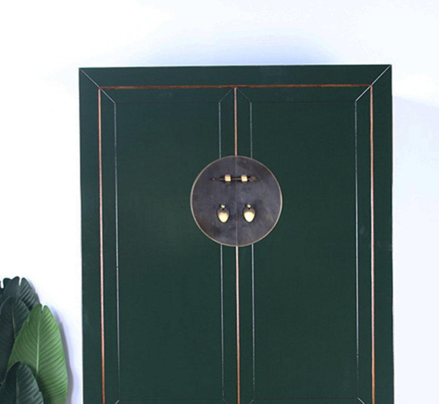 Chinesischer Hochzeitsschrank 2 Türen 4 Schubladen tannengrün