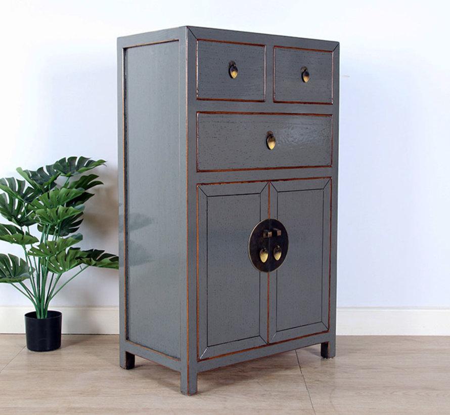 chinesische Kommode Sideboard 3 Schubladen 2 Türen  grau