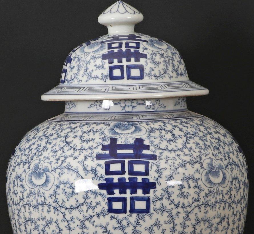 Chinesische Porzellan Deckelvase Doppeltes Glück
