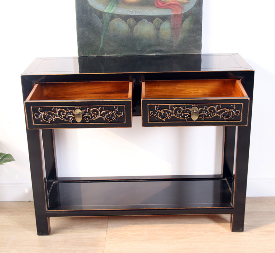 Console console table with 2 drawers in solid wood balck - Copy