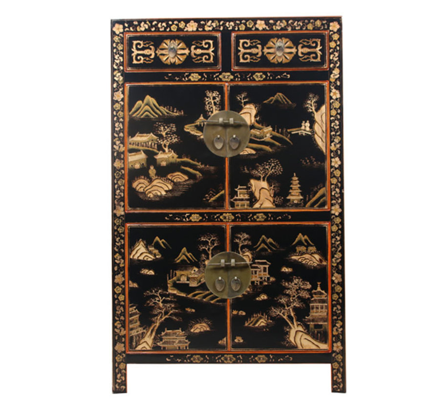 Chinese dresser hand painted landscape lucky symbols black