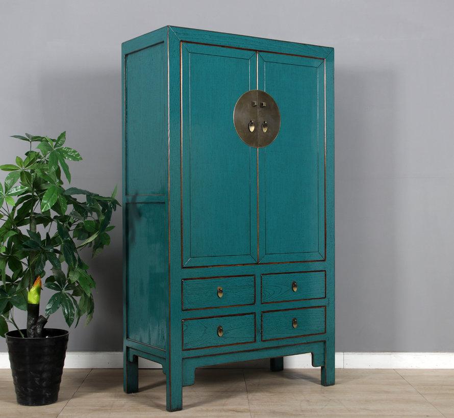 Chinese wedding cabinet 2 doors 4 drawers turquoise