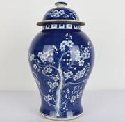 Yajutang Chinesische Porzellan Deckelvase blau
