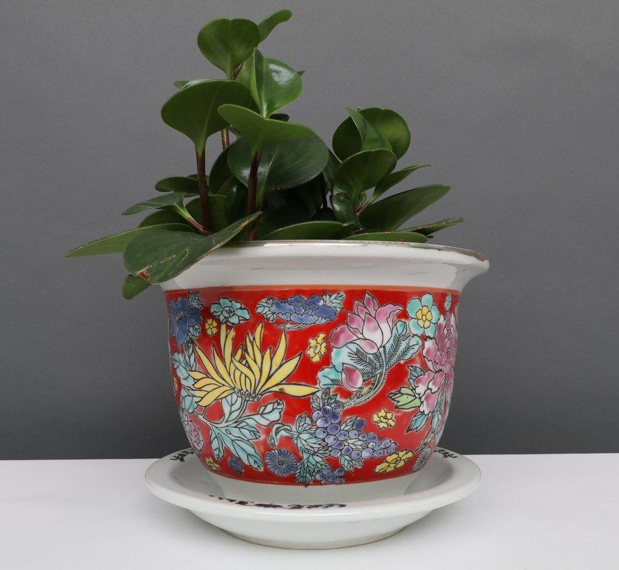 China Porzellan Blumentopf  Rot mit bunten Blumen Ø 17cm