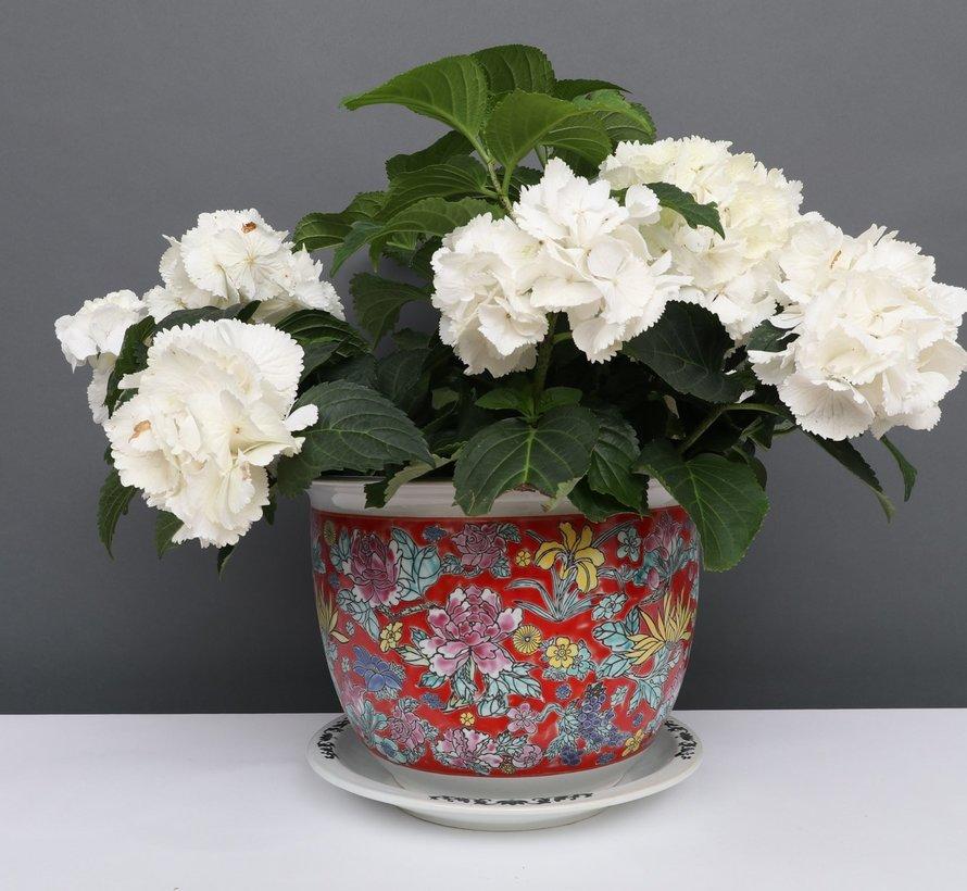 China Porzellan Blumentopf  Rot mit bunten Blumen Ø 28cm
