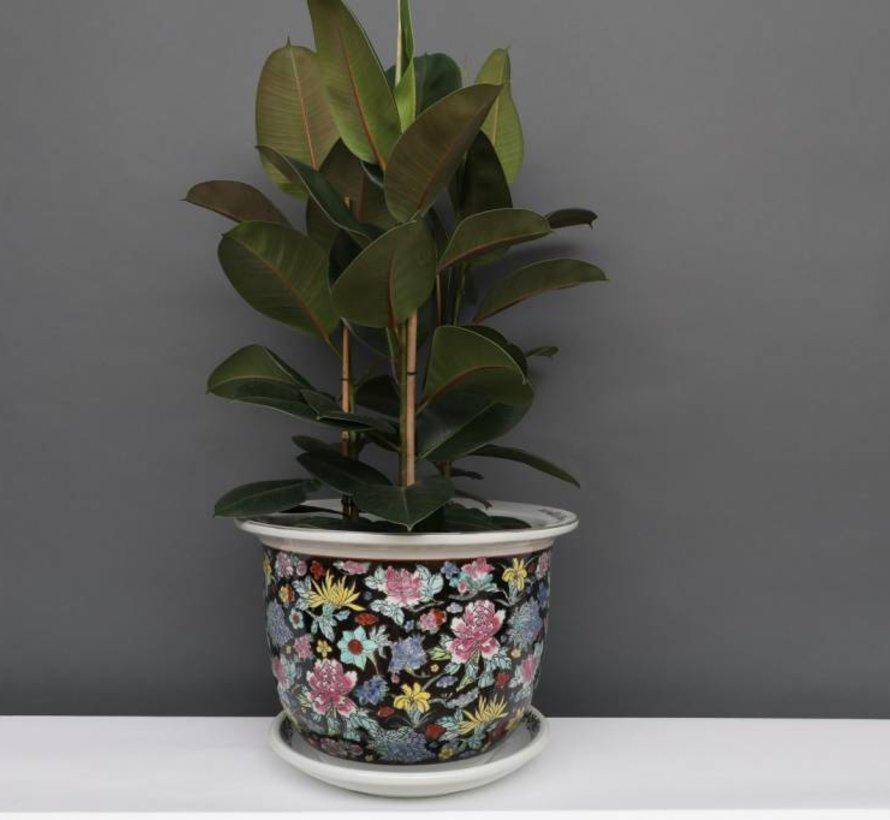 China Porzellan Blumentopf Schwarz mit bunten Blumen Ø 28cm