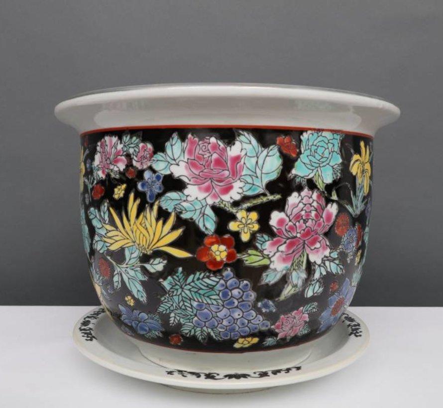 China Porzellan Blumentopf Schwarz mit bunten Blumen Ø 24cm