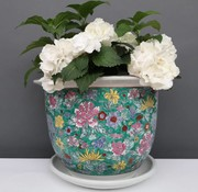 Yajutang Blumentopf Grün mit bunten Blumen Ø 28cm