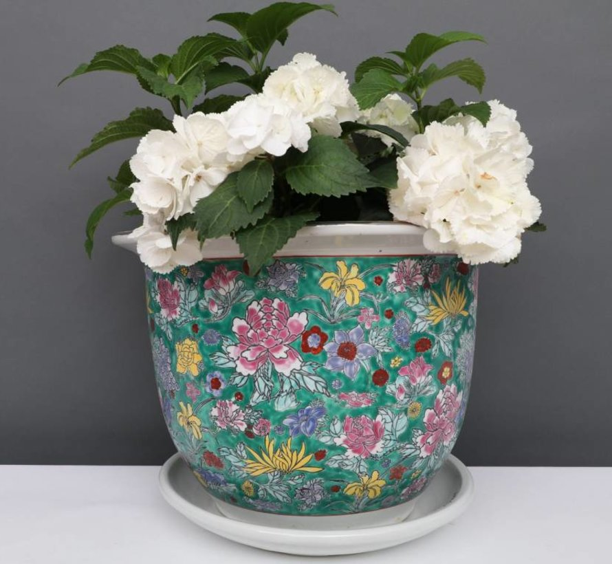 Blumentopf mit Untersetzer Porzellan Grünmalerei Blumenmotiv Ø 28cm