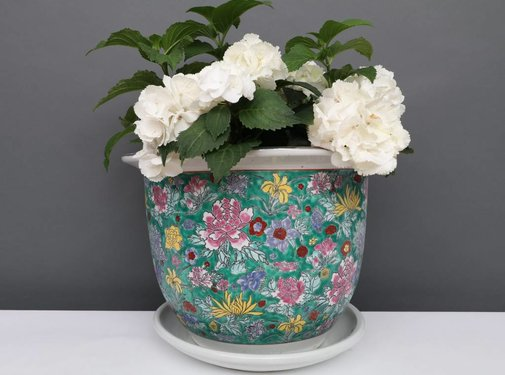 Yajutang Blumentopf Grün mit bunten Blumen Ø 24cm